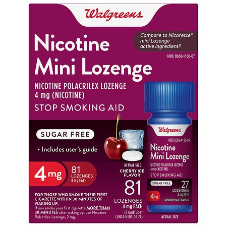 Walgreens Nicotine 4MG Mini-Lozenges Cherry Ice - 81 EA
