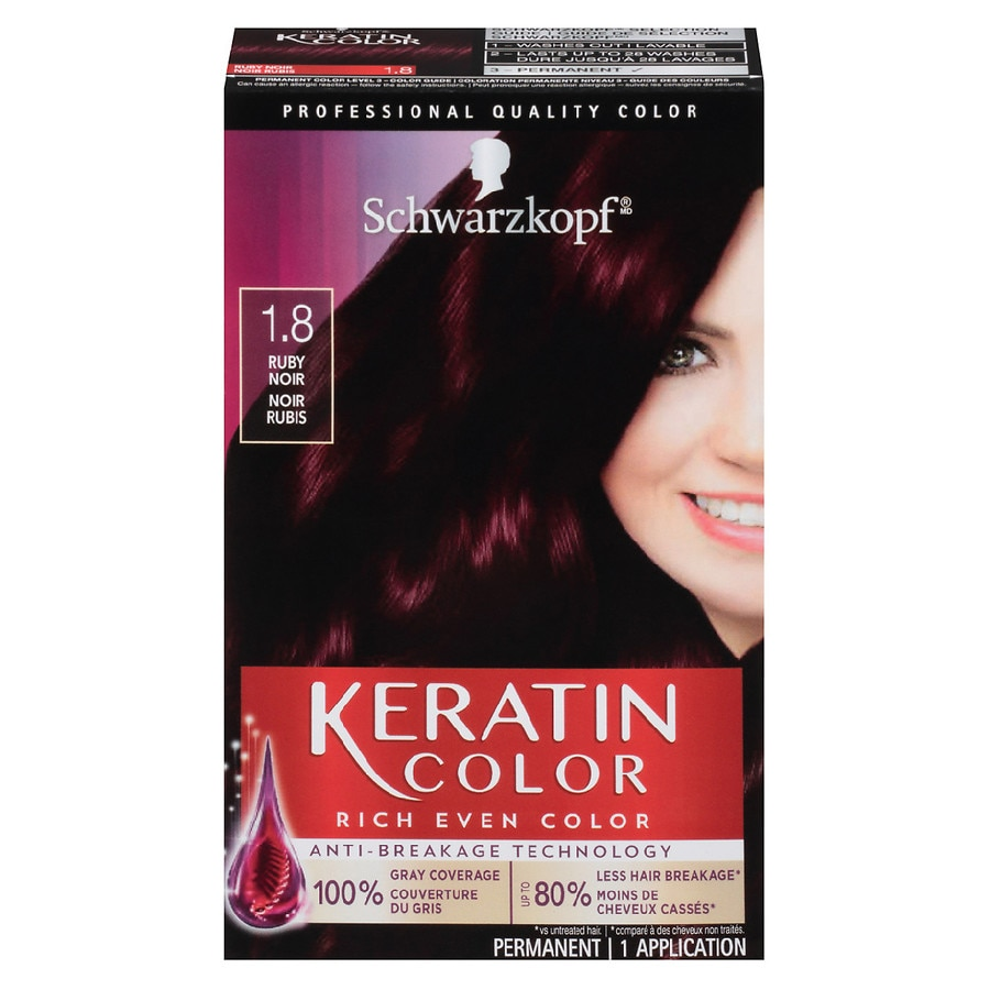 Schwarzkopf Keratin Color Permanent Hair Cream 1 8 Ruby Noir1 Oz