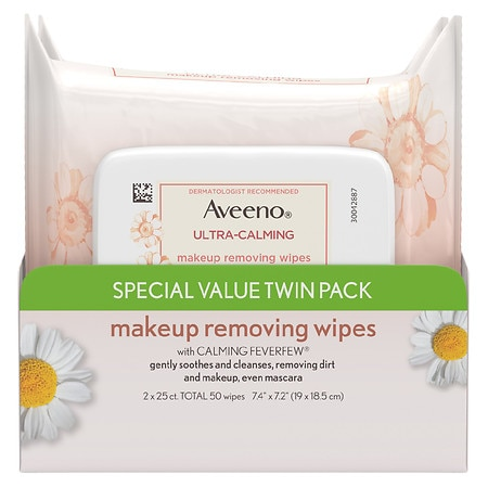 Aveeno Ultra-Calming Makeup Removing Wipes - 25 ea x 2 pack