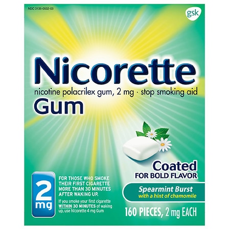 Nicorette Nicotine Gum Coated Stop Smoking Aid Spearmint - 160 ea