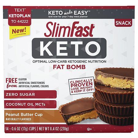 SlimFast Keto Fat Bomb Peanut Butter - 0.6 oz. x 14 pack