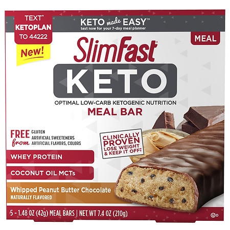 SlimFast Keto Meal Replacement Bar Peanut Butter - 1.48 oz. x 5 pack
