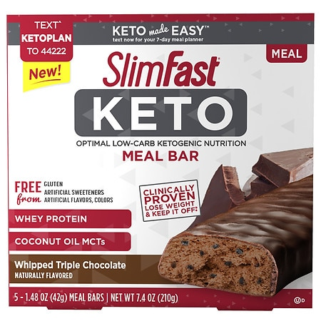 SlimFast Keto Meal Replacement Bar Whipped Triple Chocolate - 1.48 oz. x 5 pack