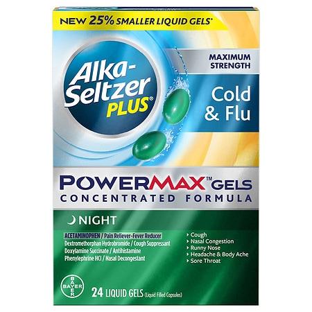 Alka-Seltzer Plus Maximum Strength Cold & Flu PowerMax Gels, Night - 24 ea