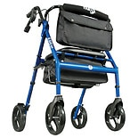 Hugo Elite Rollator Rolling Walker With Seat, Backrest And Saddle Bag Blue