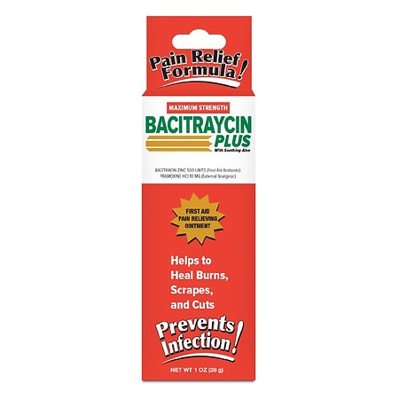 Bacitraycin Plus First Aid Pain Relieving Ointment Maximum Strength - 1 oz.