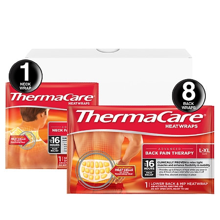 ThermaCare Advanced Back Pain & Neck Pain Therapy Combo Pack Heatwraps Large-XLarge - 1 ea