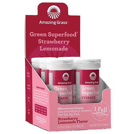 Amazing Grass Effervescent Hydration Tablets Strawberry Lemonade - 10 ea x 6 pack