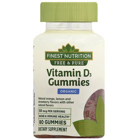 Finest Free & Pure Vitamin D3 2000IU Gummy Natural Orange, Lemon, & Strawberry - 80 ea