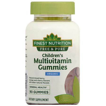 Finest Free & Pure Kids Multi Gummy Raspberry, Strawberry and Cherry - 90 ea