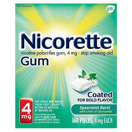 Nicorette Nicotine Gum Coated Stop Smoking Aid 4 mg Spearmint Burst - 160 ea