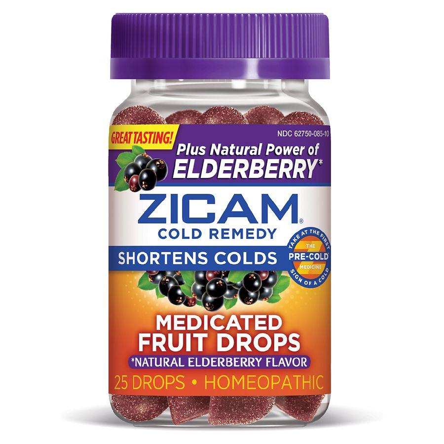 Zicam Medicated Fruit Drops Plus Elderberry Mixed Berry