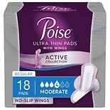 Poise Active Incontinence Collection. Incontinence liners & pads for women with no-slip wings designed to stay in place all day.