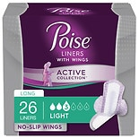 Poise Active Collection Incontinence Liners with Wings, Light Absorbency