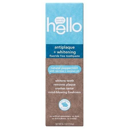 Hello Antiplaque + Whitening Fluoride Free Toothpaste - 4.7 oz