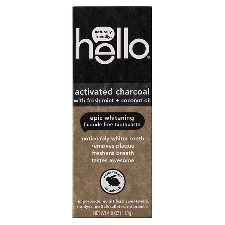 Hello Activated Charcoal Whitening Fluoride Free Toothpaste - 4.0 oz