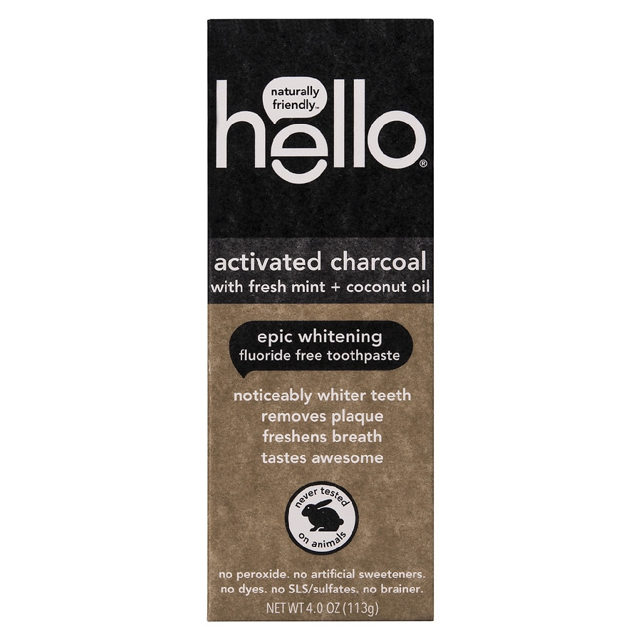 Hello Activated Charcoal Whitening Fluoride Free Toothpaste
