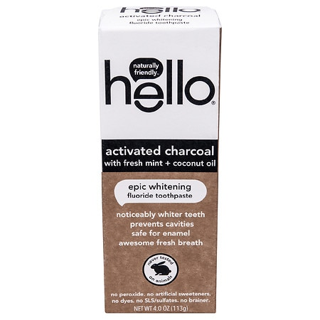 Hello Activated Charcoal Whitening Fluoride Toothpaste - 4.0 oz