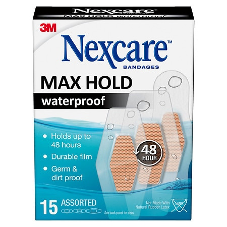Nexcare Max Hold Waterproof Bandages, Assorted - 15 ea