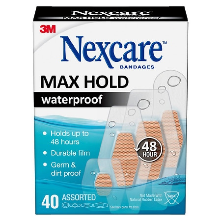 Nexcare Max Hold Waterproof Bandages, Assorted - 40 ea