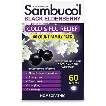Sambucol Black Elderberry Cold & Flu Relief - 60 ea