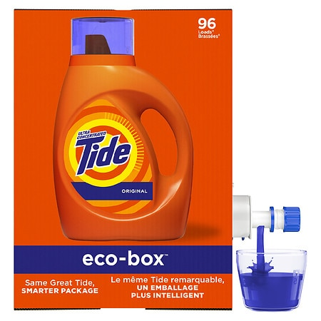 Tide Liquid Laundry Detergent Eco-Box, Use 30% Less Per Load Original Scent - 105.0 fl oz