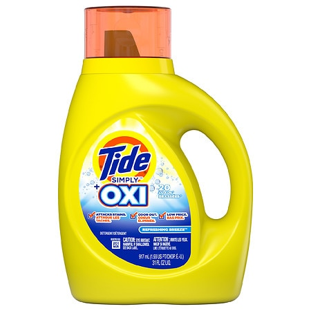 Tide Simply +Oxi Liquid Laundry Detergent, Refreshing Breeze - 31 fl oz