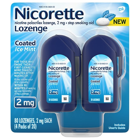 Nicorette Coated Nicotine Lozenge to Stop Smoking 2 mg Ice Mint - 20 ea x 4 pack