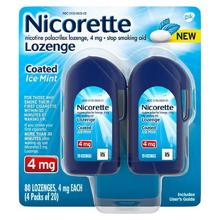 Nicorette Coated Nicotine Lozenge to Stop Smoking 4 mg Ice Mint - 20 ea x 4 pack