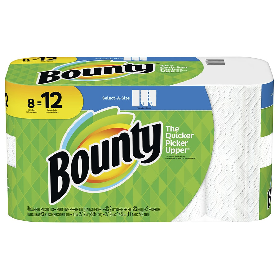 8 Huge Rolls = 20 Regular Rolls White Bounty Select-a-Size Paper Towels