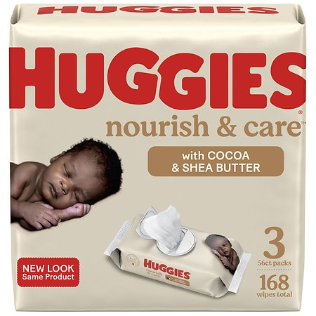 Huggies Nourish & Care Baby Wipes, Sensitive Skincare Cocoa & Shea Butter - 56 ea x 3 pack