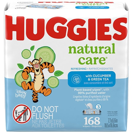 Huggies Refreshing Clean Scented Baby Wipes, Disposable Soft Pack, Alcohol-Free Cucumber & Green Tea - 56 ea x 3 pack
