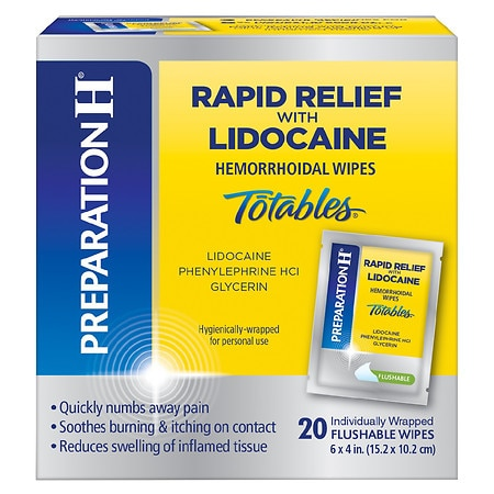 Preparation H Rapid Relief with Lidocaine Hemorrhoidal Wipes Totables - 20 ea x 20 pack