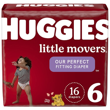 Huggies Little Movers Diapers, Size 6 for Active Babies - 16 ea