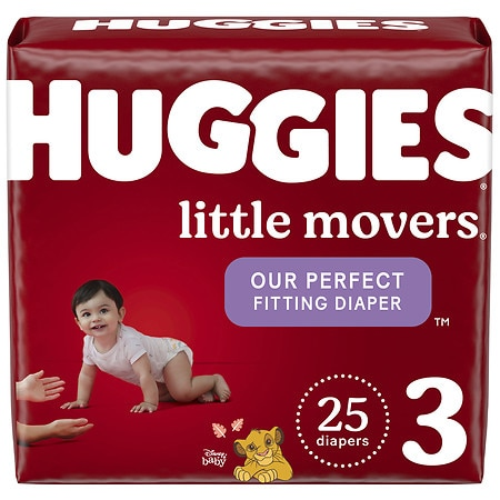 Huggies Little Movers Diapers, Size 3 for Active Babies - 25 ea