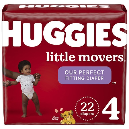 Huggies Little Movers Diapers, Size 4 for Active Babies - 22 ea