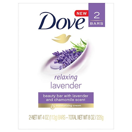 Dove Purely Pampering Relaxing Lavender Beauty Bar - 4.0 oz x 2 pack
