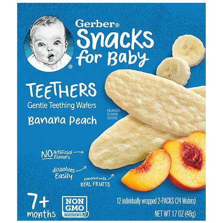 Gerber Teethers Wafers Banana Peach - 0.07 oz x 24 pack