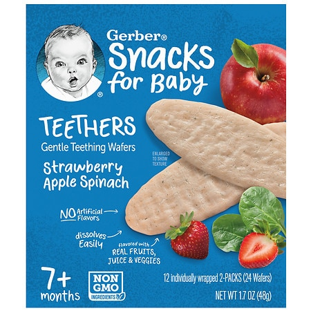 Gerber Teethers Wafers Strawberry Apple Spinach - 0.07 oz x 24 pack