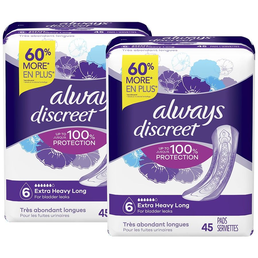 Always Discreet Incontinence Pads+ 4 Packs of 24 Count Total 96 for Sensitive Bladder 3 Drops Absorbency Normal Pads