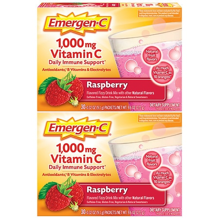 Emergen-C Dietary Supplement Fizzy Drink Mix With 1000mg Vitamin C - 0.33 oz x 60 pack