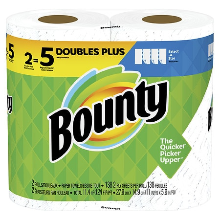 Bounty Select-A-Size Double Plus Rolls - 138.0 sheets x 2 pack