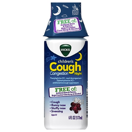 Vicks Children S Cough Congestion Night Relief Dye Free