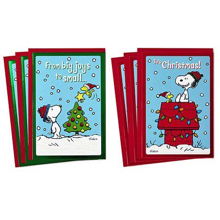 Walgreens Christmas Card.Hallmark Peanuts Christmas Card Assortment Snoopy And Woodstock 2 Designs