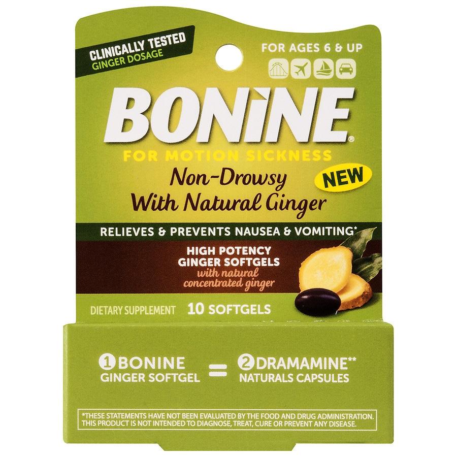 Bonine High Potency Ginger Softgels