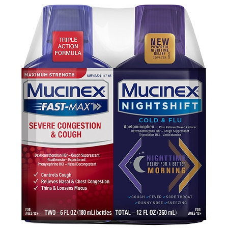 Mucinex Fast Max Severe Congestion/Cough + Nightshift Combo - 6.0 oz x 2 pack