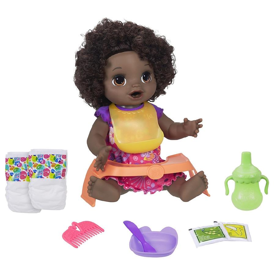 Hasbro Baby Alive Happy Hungry Baby Doll Black Curly Hair Walgreens