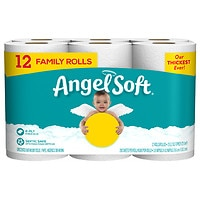 12-Pack Angel Soft Bath Tissue Family Rolls