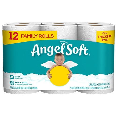 Angel SoftBath Bath Tissue 12 Family Rolls