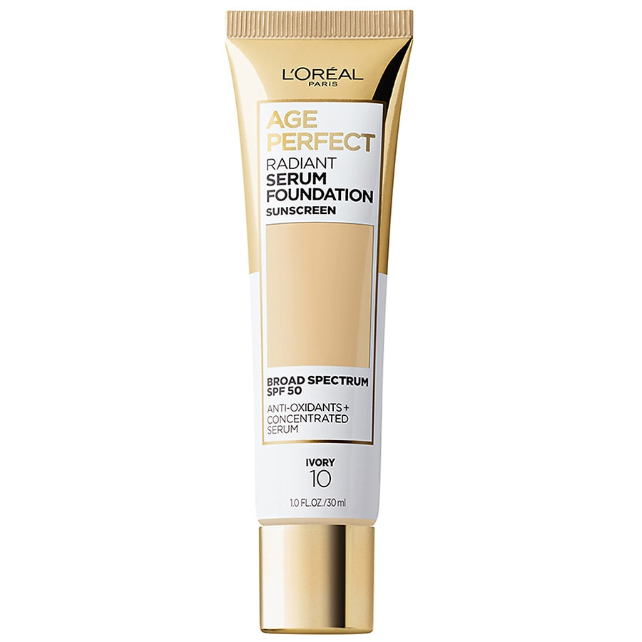 L'Oreal Paris Age PerfectRadiant Serum Foundation with SPF 50, Ivory 1.0fl oz